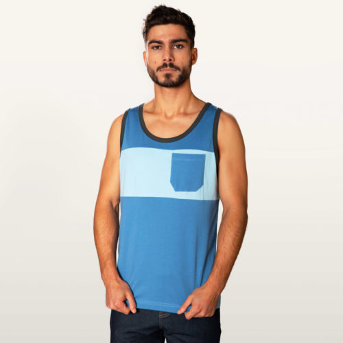 two colored tank top man