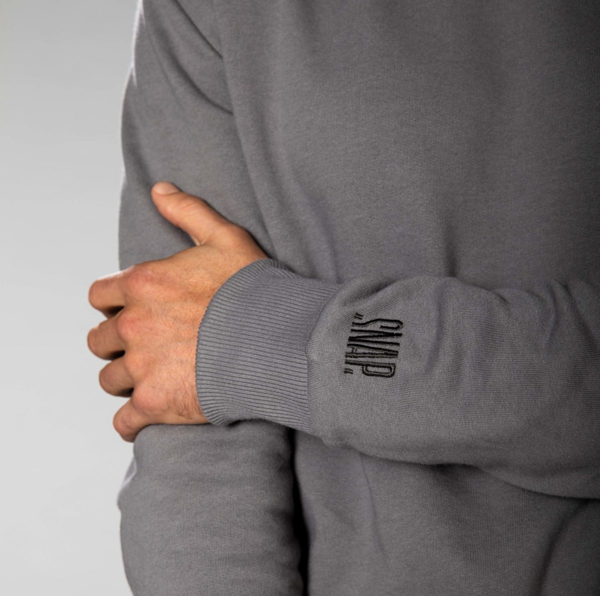 sweat gris col rond homme