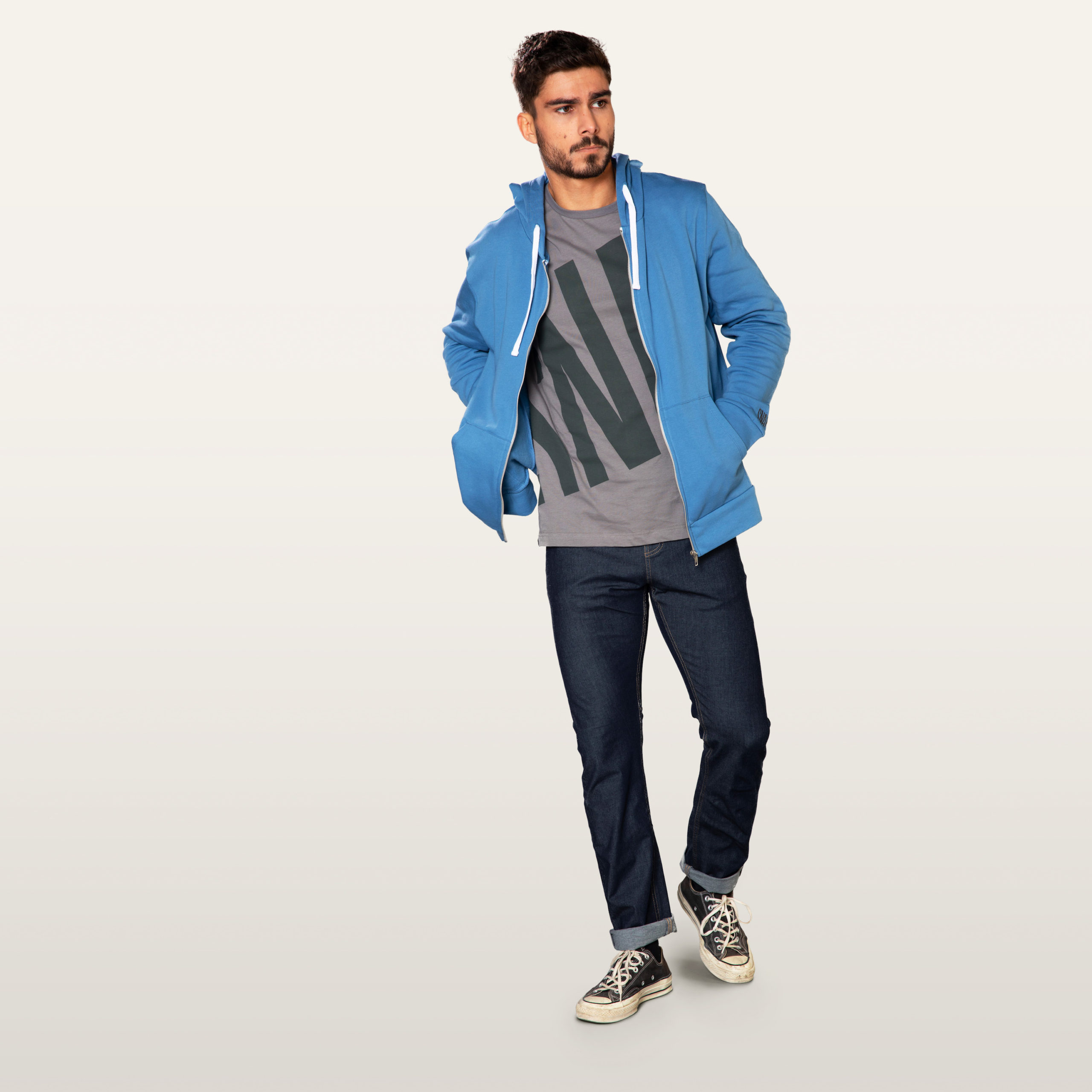 sweat capuche homme couleur bleu, eco-friendly